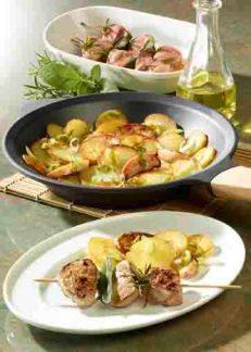 Kartofffelgerichte: Apfel-Kartoffel-Pfanne mit marinierten Foto: Wirths PR