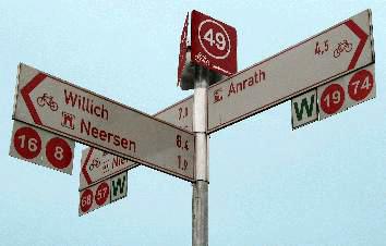 Das Radwegenetz im Knotenpunktsystem des Kreises Viersen.
