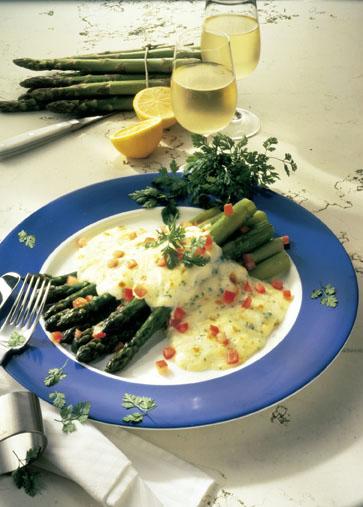 Grüner Spargel mit Mozzarella Foto: Wirths PR