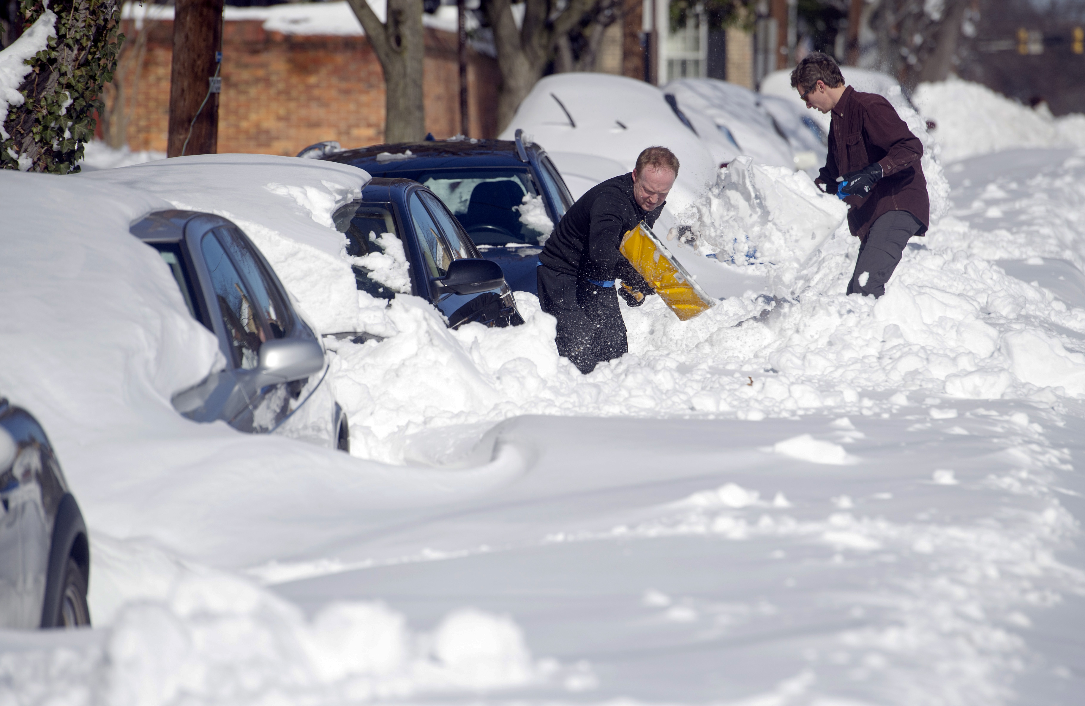 People dig out their cars in Alexandria, Va., Sunday, Jan. 24, 2016. . (AP Photo/Cliff Owen)