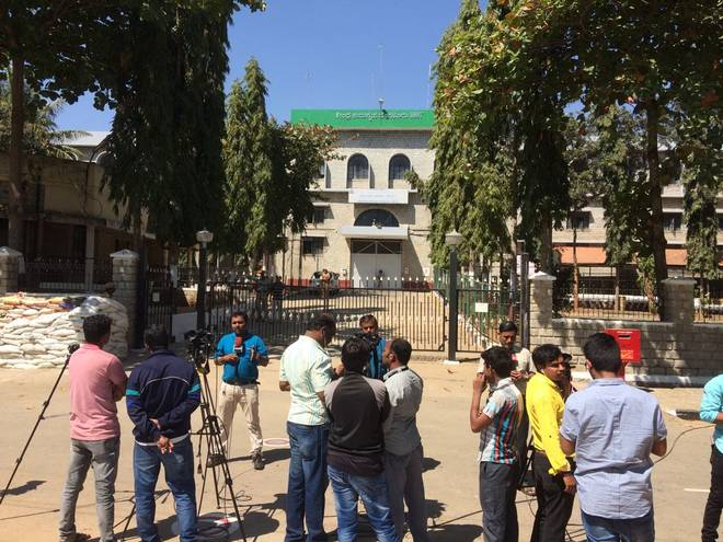 Media outside Parappana Agrahara Jail Bengaluru