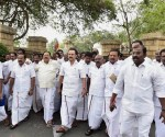 Chennai: DMK working president M K Stalin arrives along with his party MLAs at the Tamil Nadu Secretariat in Chennai on Saturday. PTI Photo by R Senthil Kumar(PTI2_18_2017_000041A)