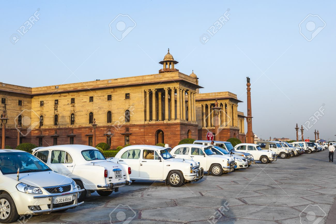 16377520-DELHI-INDIA-OCTOBER-16-Official-Hindustan-Ambassador-cars-parked-outside-North-Block-Secretariat-Bui-Stock-Photo