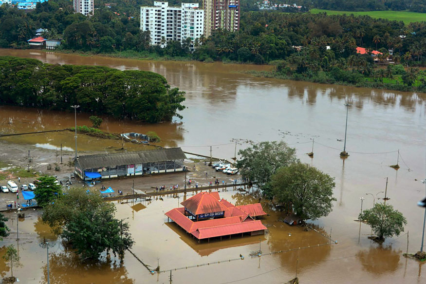Kochi: An aerial view of Aluva town following a flash flood after heavy rain, in Kochi on Sunday, August 12, 2018. (PTI Photo)(PTI8_12_2018_000072B)