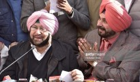 AMRITSAR, INDIA - JANUARY 19: Punjab Pradesh Congress committee President Capt. Amarinder Singh along with Navjot Singh Sidhu, Congress candidate from East constituency, Amritsar, addressing the media persons, on January 19, 2017 in Amritsar, India. Sidhu, who has recently joined Congress, is running for the state legislature from Amritsar East, a subset of the larger Amritsar constituency that he represented in the Parliament as a BJP leader. (Photo by Gurpreet Singh/Hindustan Times via Getty Images)