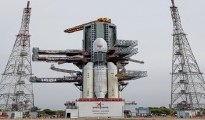 Sriharikota: In this picture released by ISRO Thursday, July 11, 2019, the Geosynchronous Satellite Launch Vehicle Mark III (GSLV Mk 3) or 'Bahubali' is seen at the second launch pad ahead of the launch of Chandrayaan-2, in Sriharikota. The space mission, which aims to place a robotic rover on the moon, is set to be launched on July 15, 2019. (ISRO/PTI Photo)  (PTI7_11_2019_000149B)
