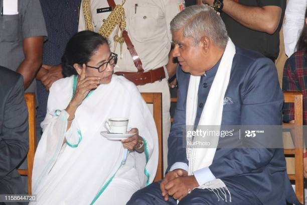 Mamata Banerjee Chief Minister of West Bengal and Shri Jagdep Dhankhar Governor of West Bengal during The swearing- In- Ceremony of Shri Jagdeep Dhankhar ,Governor of West Bengal at Governor House on 30 July, 2019 in Kolkata, India. (Photo by Debajyoti Chakraborty/NurPhoto via Getty Images)