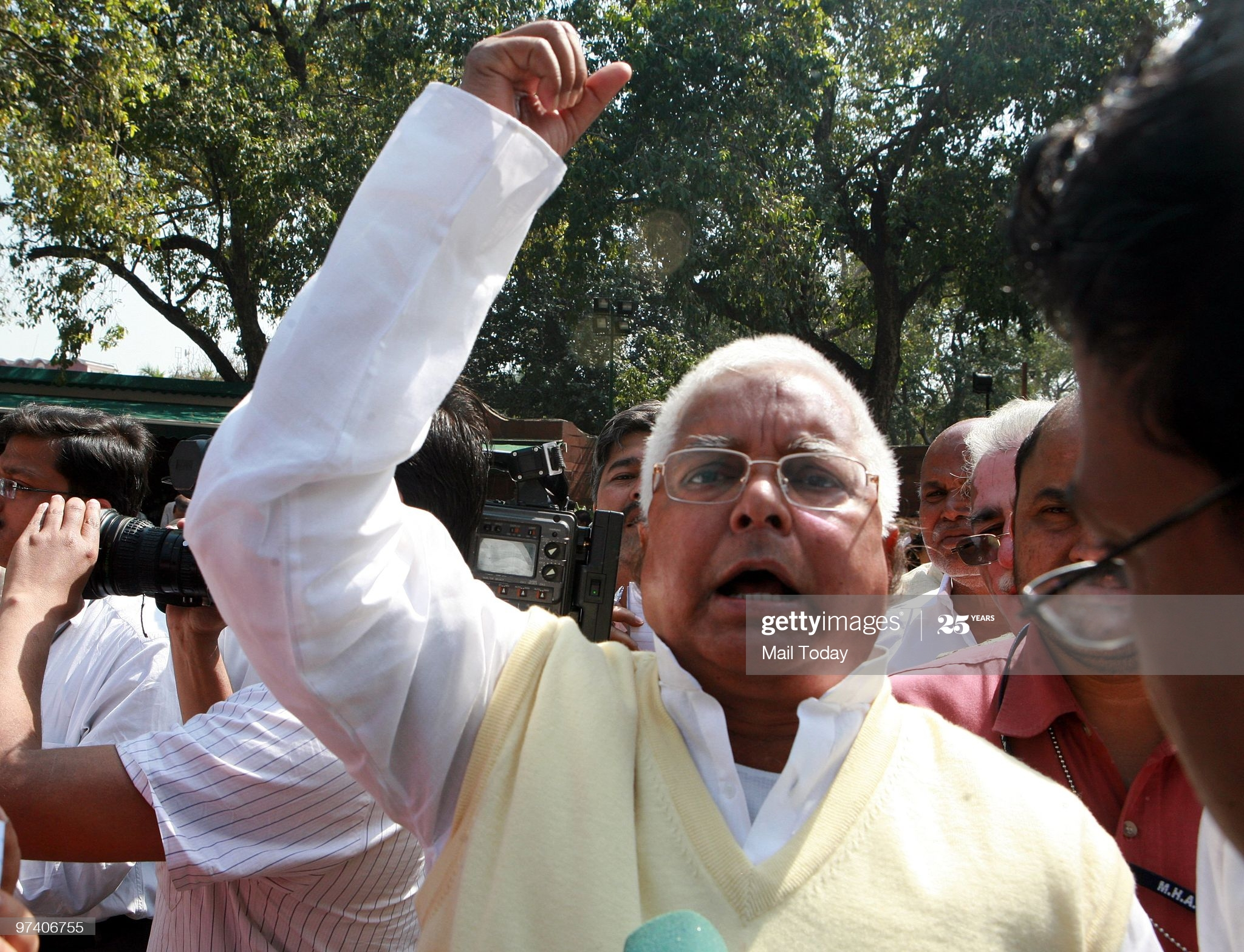 NEW DELHI, INDIA � FEBRUARY 26: Senior political leader Lalu Prasad Yadav addresses the media after the opposition leaders walked out of the parliament house to protest against the Annual Budget 2010-2011 in New Delhi on February 26, 2010. (Photo by Kaushik Roy/The India Today Group via Getty Images)