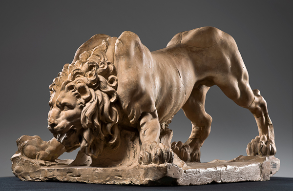 Fig. 2. Gian Lorenzo Bernini, Model for the Lion on the Four Rivers Fountain, 1649–50. Terracotta. Accademia Nazionale di San Luca, Rome, 258, Side view.