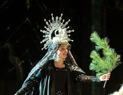 Cybèle with a branch of her beloved pine tree in Les Arts Florissants' Atys. Photo Stephanie Berger.