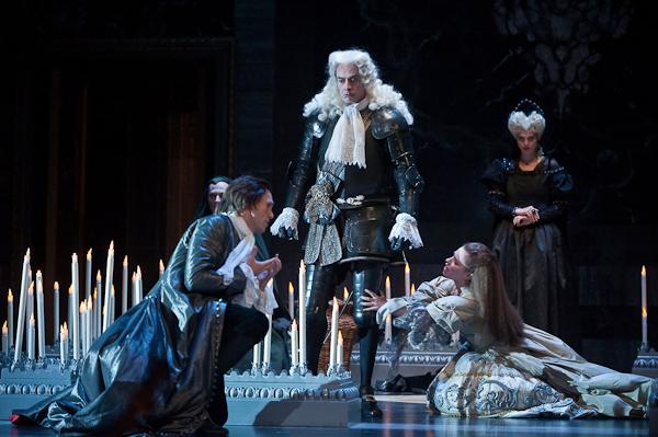 Atys (Ed Lyon) and Sangaride (Emmanuelle de Negri), as the king, Célénus (Nicolas Rivenq), and the goddess, Cybèle (Anna-Reinhold), look on. Photo Stephanie Berger.