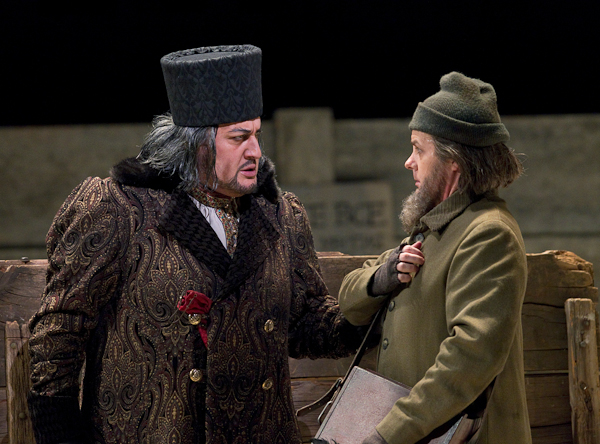 George Gagnidze as Shaklovity and John Easterlin as a public scribe in Mussorgsky'€™s €Khovananshchina. Photo: Ken Howard/Metropolitan Opera.