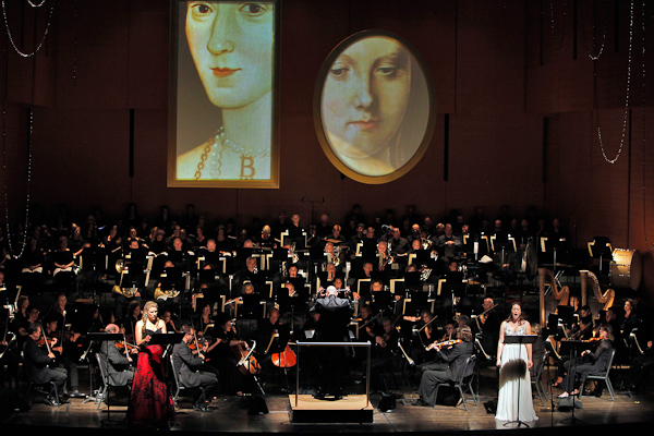 Saint-Saëns' Henry VIII, Jennifer Holloway as Anne Boleyn, Ellie Dehn as Catherine of Aragon, American Symphony Orchestra, conducted by Leon Botstein. Photo Cory Weaver.