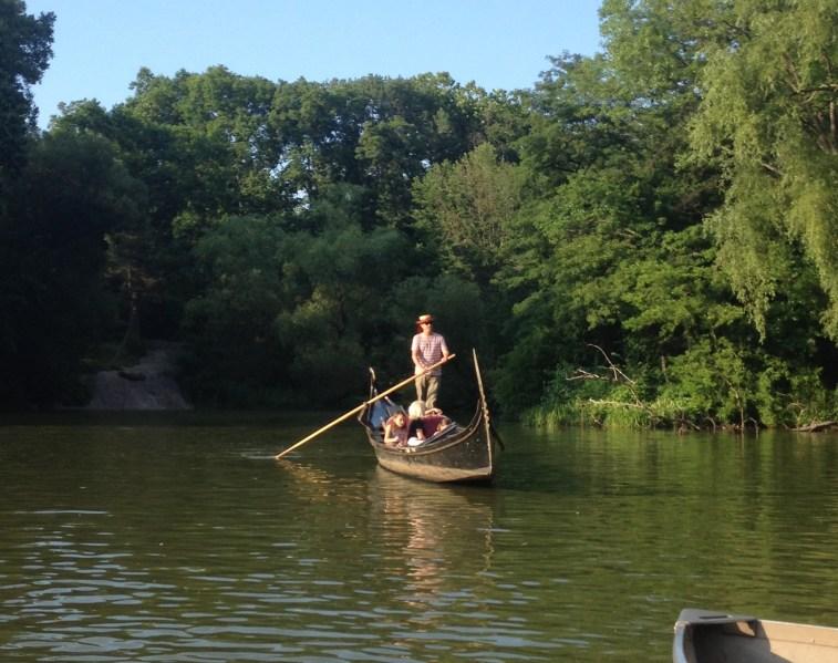 Boating in Central Park gondola