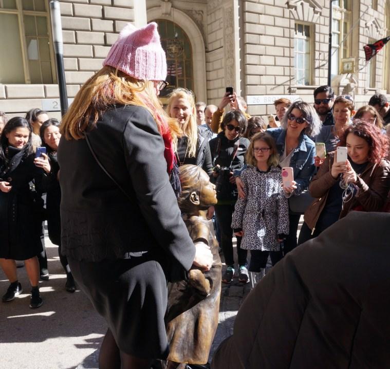 wall street bull girl statue womens day