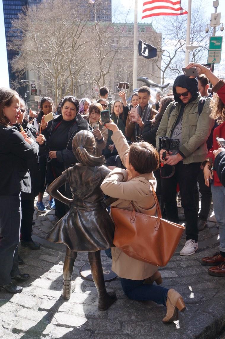 womens day wall street bull girl statue