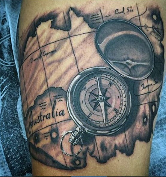 75 Travel Tattoos For Men   Adventure Design Ideas Mens Shaded Compass With Map Of Australia Travel Tattoo On Bicep