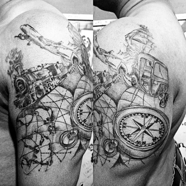 75 Travel Tattoos For Men   Adventure Design Ideas Travel Themed Mens Uper Arm Tattoo Design With Train Map Compass And  Airplane