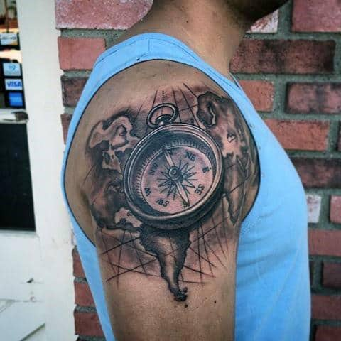 75 Travel Tattoos For Men   Adventure Design Ideas Upper Arm Compass And Map Travel Inspired Tattoos For Gentlemen