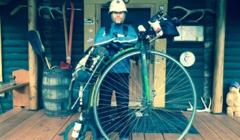 with his Penny Farthing
