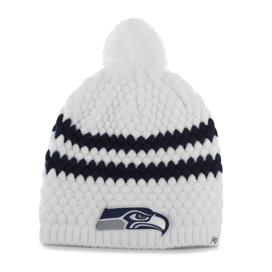 Womens Seattle Seahawks '47 Brand White Kendall Uncuffed Pom Knit Beanie