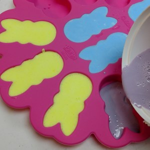Peeps Cold Process Soap Recipe Pouring the Soap into the Mold