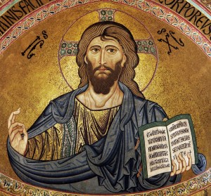Christ Pantocrator mosaic in Byzantine style, from the Cefalù Cathedral, Sicily, c. 1131 (retouched jpeg).