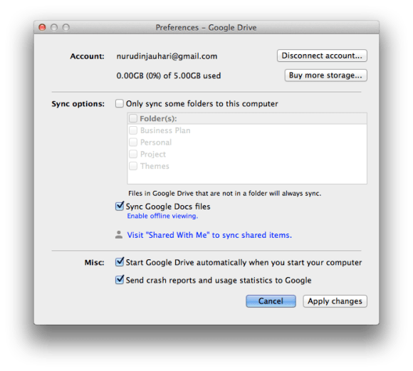 Google Drive for Mac Preferences