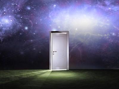 Doorway before cosmic sky