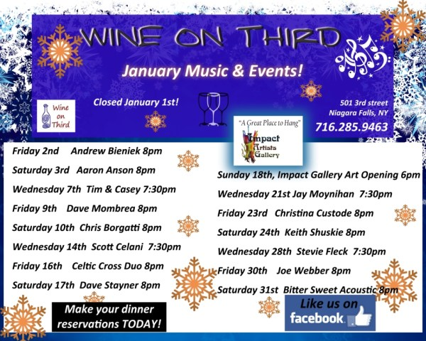 January 2015 Wine On Third flyer
