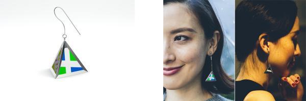 今回試作した「VIEWS(ピアス形状)」(左)と、「VIEWS(イヤリング形状)」の装用イメージ(右)