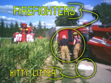 here you can see the firefighters checking out the fuel leak
