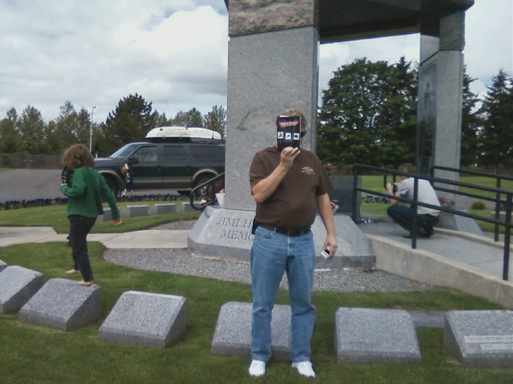 Three Daves rocks out at the Jimi Hendrix Memorial in Renton, WA