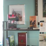 Three Daves rubs elbows, er, bookspines, with other local author books at Limestone Coffee & Tea in downtown Batavia, IL