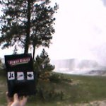 Three Daves watches Ol' Faithful blow off some steam at Yellowstone National Park.