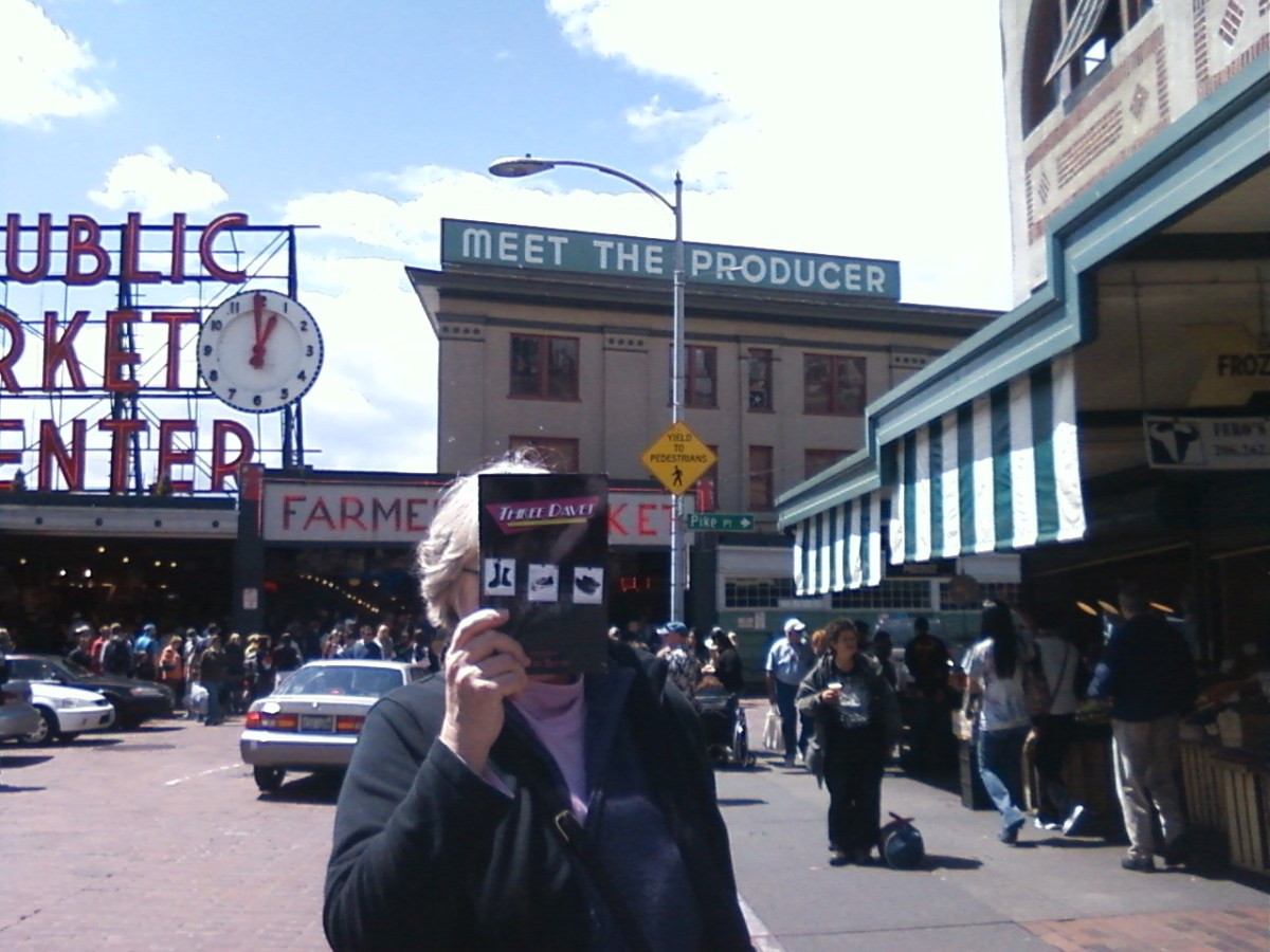 Three Daves pick up a few things at the Pike Street Market