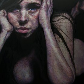 "SOLD - Bored Nude - 48""x48"" - Oil on Board"