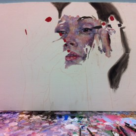 Jessica eyeliner portrait, painting in progress