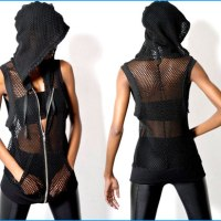 STYLE: OAK Black Label mesh sleeveless slouch hoodie
