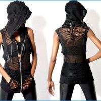 STYLE: OAK Black Label mesh sleeveless slouch hoodie