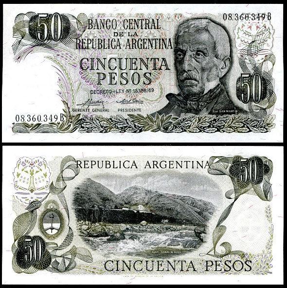 ARGENTINA 50 PESO 1975 P 296 UNC