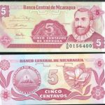 NICARAGUA 5 CENTAVOS 1991 UNCIRCULATED P168 BANKNOTE