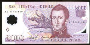 CHILE P 160 , p160 2004, 2000 PESOS ,UNC polymer