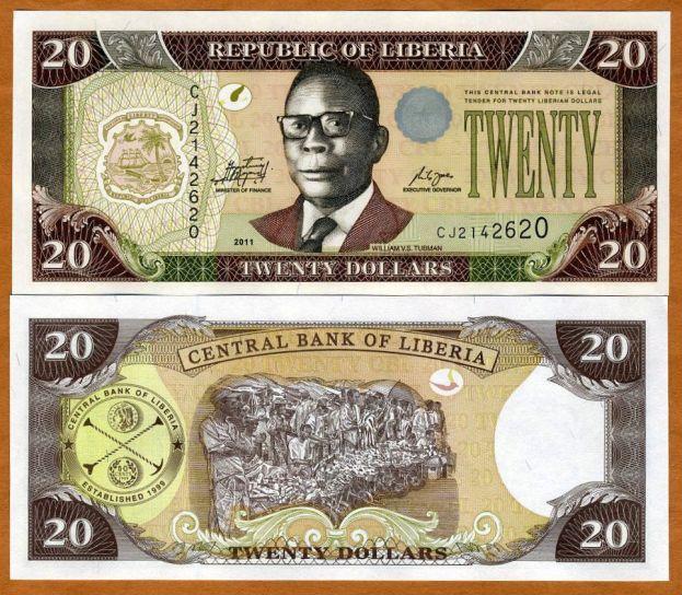 Liberia Africa 20 dollars 2011 P-28-New UNC