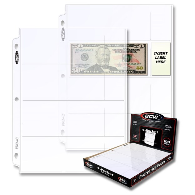 1-PRO4C-100_1_PRO 4-POCKET CURRENCY PAGE (100 CT. BOX)