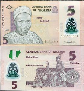 NIGERIA 5 NAIRA 2011 UNC P NEW BANKNOTE FOR SALE