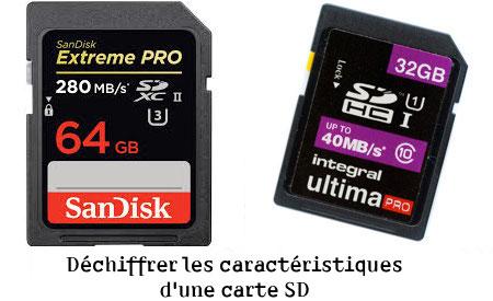 Déchiffrer les caractéristiques d'une carte mémoire SD