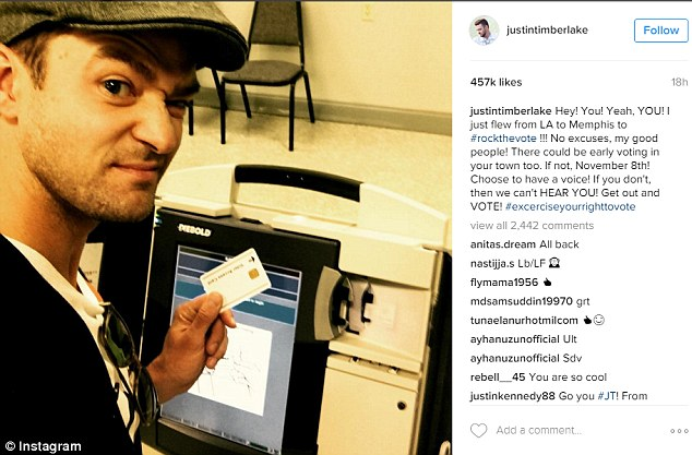 Justin Timberlake Could Be Arrested After Posing For Selfie In Voting Bo
