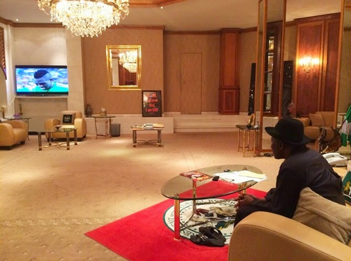 Former President Jonathan watching Nigeria vs. Bosnia match during the 2014 World Cup