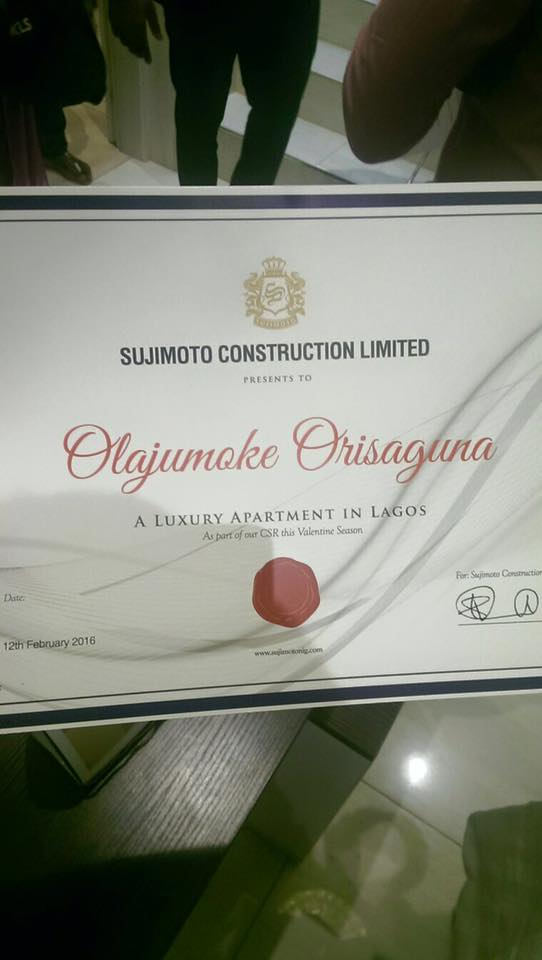 Sujimoto Offers #Olajumoke A Furnished Luxury Apartment In Lagos